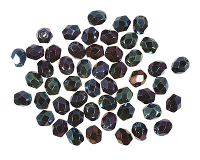Czech Fire Polished Glass Iris Blue Round 4mm