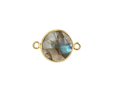 Labradorite Faceted Coin Link in Gold Vermeil 19x13mm