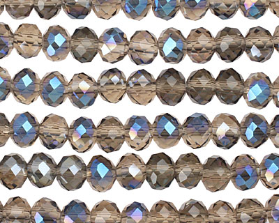 Smoky & Blue AB Crystal Faceted Rondelle 6mm