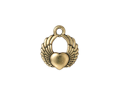TierraCast Antique Brass (plated) Winged Heart Charm 15x17mm
