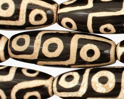 Black & Ivory Tibetan (Dzi) Agate Rice 38-41x14mm