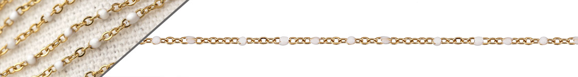 Gold (plated) Stainless Steel White Small Cable Chain