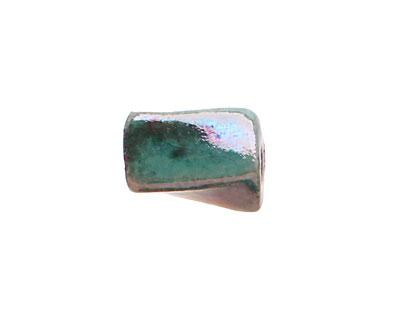 Xaz Raku Green Twisted Brick 15-18x9-10mm