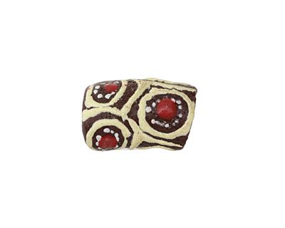 African Handpainted in Red/Cream/White on Brown Powder Glass (Krobo) Bead 17-19x11-12mm