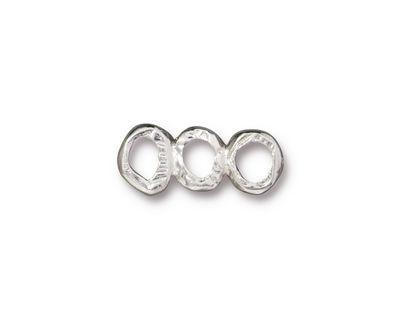 TierraCast Rhodium (plated) 3 Ring Bar Link 19x7mm