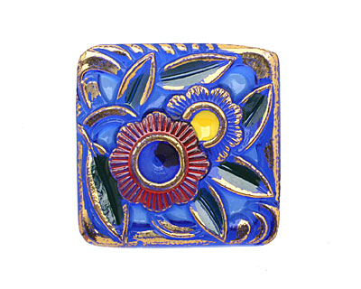 Czech Glass Waving Flowers Square Button 22mm