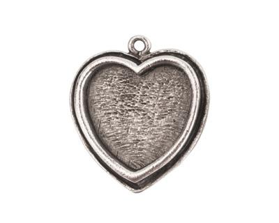 Nunn Design Antique Silver (plated) Traditional Heart Bezel Pendant 23x27mm