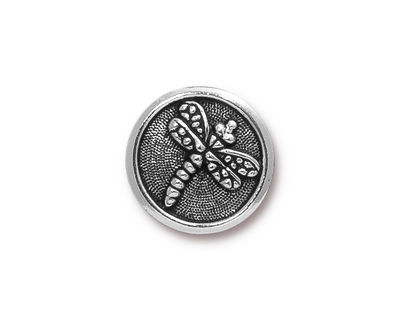 TierraCast Antique Silver (plated) Dragonfly Button 17mm