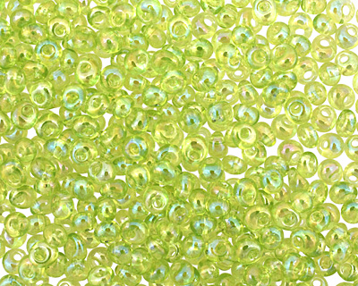 TOHO Transparent Rainbow Lime Green Magatama 3mm Seed Bead
