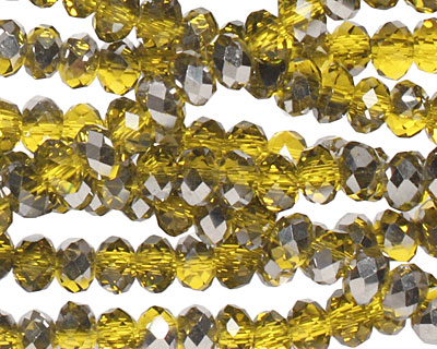 Chartreuse & Pewter Crystal Faceted Rondelle 4mm