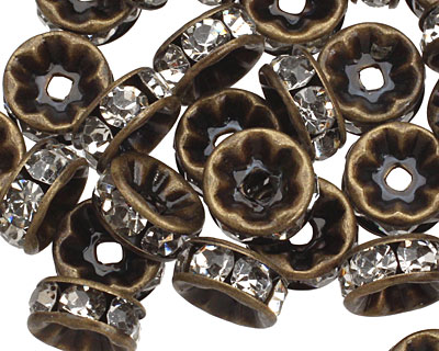 Vintage Brass (plated) Crystal Rhinestone Rondelle 8mm