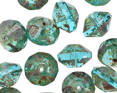 Czech Glass Beach Glass Picasso Saucer 9x13mm