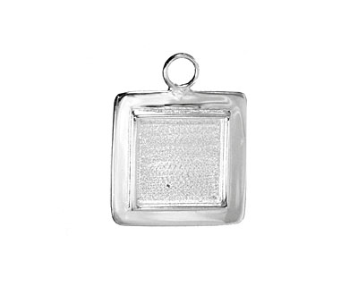 Silver (plated) Lipped Square Bezel 19mm