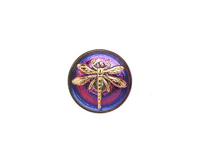 Czech Glass Electric Purple w/ Gold Dragonfly Button 18mm