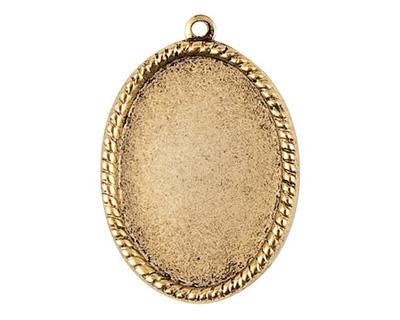 Nunn Design Antique Gold (plated) Vetri Beaded Oval Frame 23x32mm