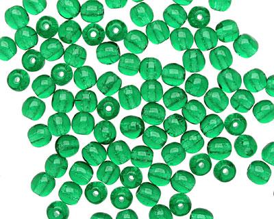 Czech Glass Green Emerald Round 4mm