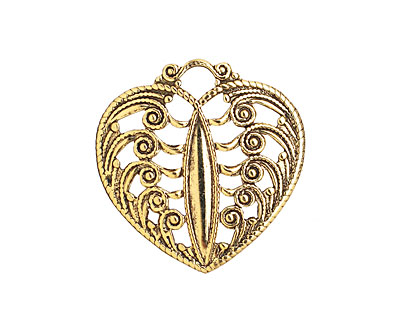 Stampt Antique Gold (plated) Scrolling Heart Filigree 24x25mm