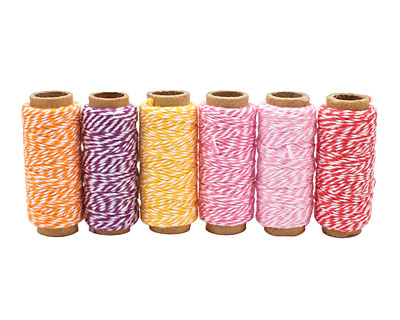 Spring Fling Bakers Twine 2 ply, 65 ft x 6 colors