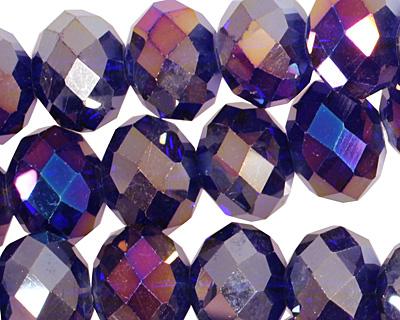 Cobalt AB Crystal Faceted Rondelle 14mm