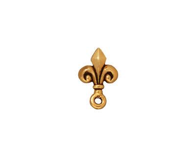 TierraCast Antique Gold (plated) Fleur de Lis Ear Post 9x14mm