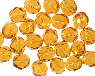 Czech Fire Polished Glass Medium Topaz Round 8mm
