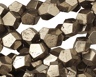 Golden Pyrite (silver tone) Faceted Nugget 9-10x8-9mm