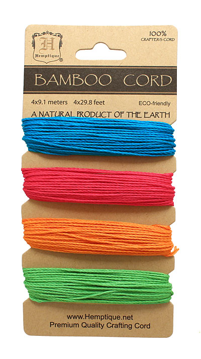 Neon Mix Bamboo Cord 20 lb, 29.8 ft x 4 colors