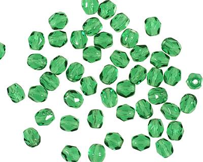 Czech Fire Polished Glass Green Emerald Round 3mm
