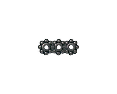 TierraCast Gunmetal Beaded 3-Hole 6mm Heishi Bar 15x6mm