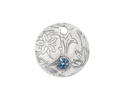Nunn Design Antique Silver (plated) Decorative Small Circle Tag w/ Light Sapphire Crystal 20mm