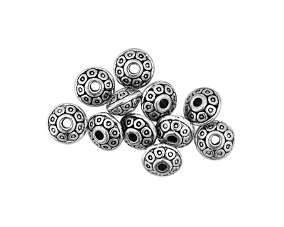 Pewter Dotted Rondelle 3x6mm