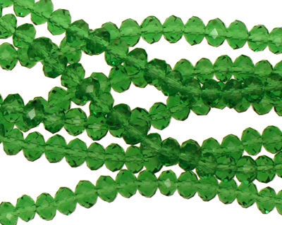 Kelly Green Crystal Faceted Rondelle 4mm