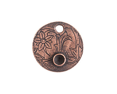 Nunn Design Antique Copper (plated) Decorative Small Circle Bezel Tag 20mm
