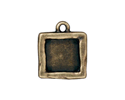 TierraCast Antique Brass (plated) Simple Square Frame Drop 18x21mm