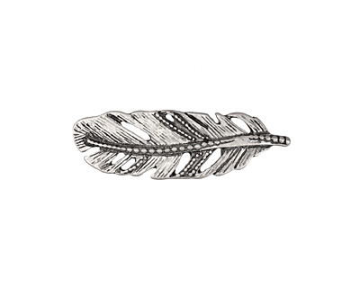 Zola Elements Antique Silver (plated) Beaded Feather 5mm Flat Cord Slide 35x11mm