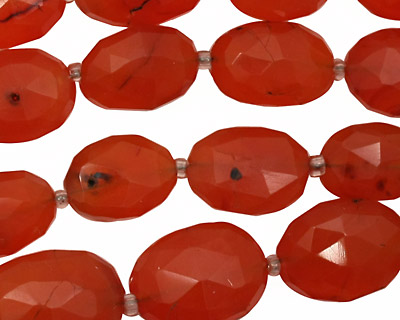 Carnelian (natural-orange) Faceted Oval 12-18x10-13mm