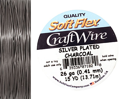 Soft Flex Silver Plated Charcoal Craft Wire 26 gauge, 15 yards