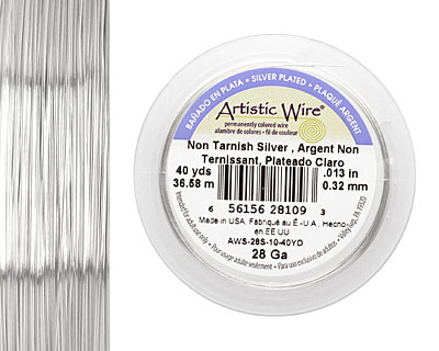 Artistic Wire Tarnish Resistant Silver 28 gauge, 40 yards
