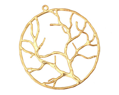 Ezel Findings Gold (plated) Circle Tree Branch Pendant 38x42mm