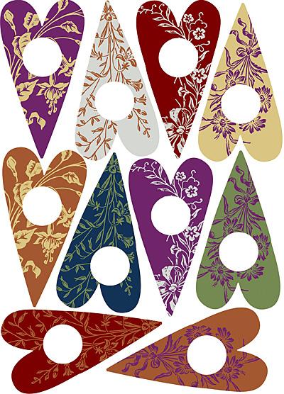 Nunn Design Floral Heart Small Collage Sheet