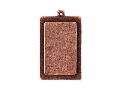 Nunn Design Antique Copper (plated) Raised Tag Vertical Rectangle Pendant 25x41mm
