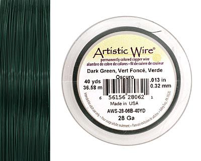 Artistic Wire Dark Green 28 gauge, 40 yards