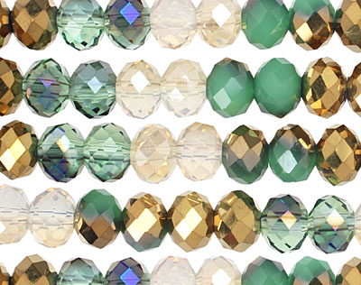 Gatsby Crystal Mix Faceted Rondelle 8mm