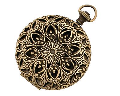 Antique Brass (plated) Round Filigree Timepiece Heirloom Locket 45x60mm