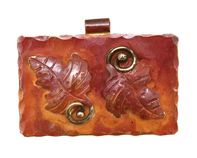 Patricia Healey Copper Double Maple Leaf Pendant 43x31mm