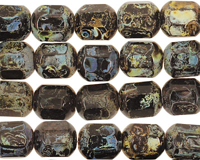 Czech Glass Dark Garden Faceted Barrel 10x9mm