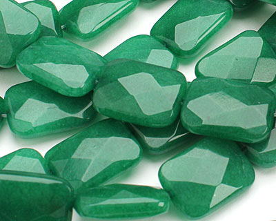 Emerald Colorful Jade Faceted Thin Pillow 20x15mm