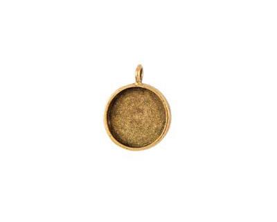 Nunn Design Antique Gold (plated) Small Circle Bezel Pendant 19x27mm