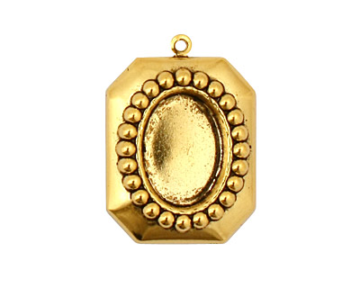 Stampt Antique Gold (plated) Nouveau Beaded Frame Oval Setting 10x14mm