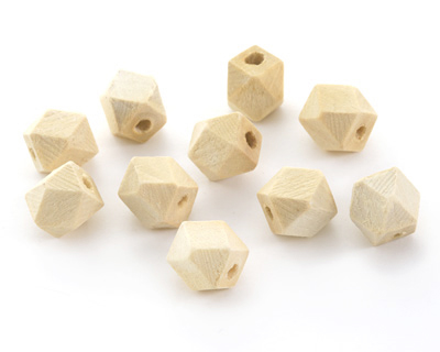 Natural Wood Faceted Nugget 10mm
